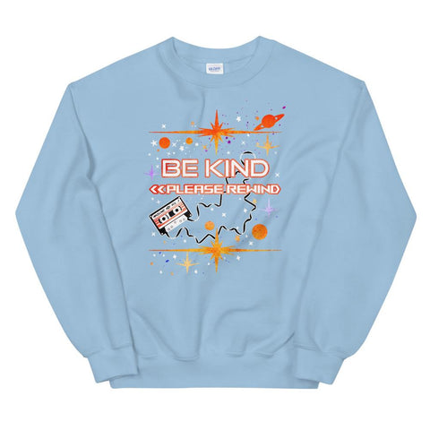 Guardians of the Galaxy Sweatshirt READY TO SHIP Be Kind Please Rewind Disney Marvel- Light Blue- LARGE