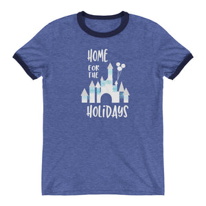 Home for the Holidays Disneyland Sleeping Beauty Castle Christmas Holiday Tshirt