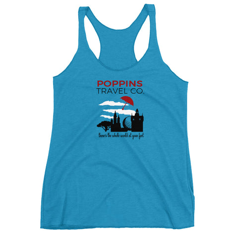 Mary Poppins Travel Co., Red Umbrella Women's Racerback Tank