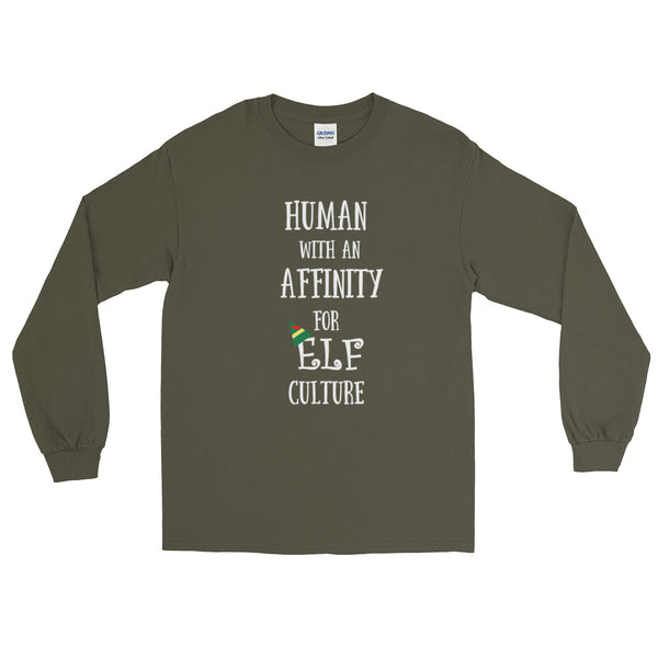 Elf Holiday Movie Quote Human Affinity for Elf Culture long sleeve tee