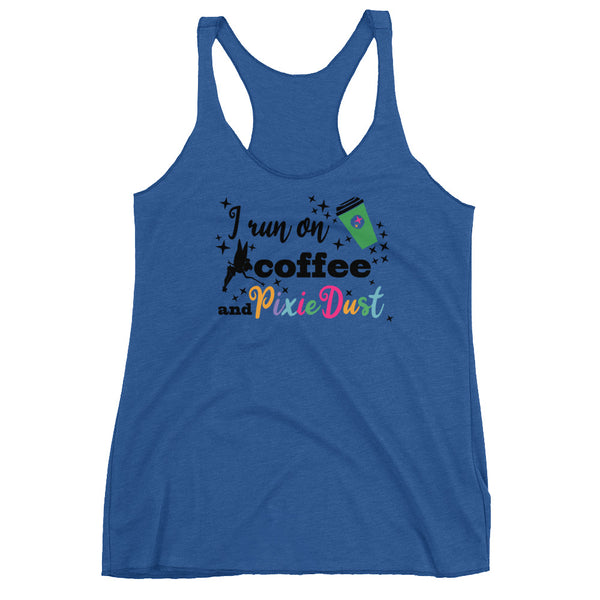Coffee and Pixie Dust Tank Top, Tinkerbell Disney I Run on Coffee and Pixie Dust Ladies Tank Top