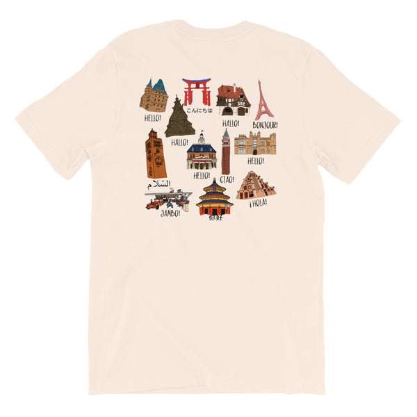 Epcot World Showcase Hello World Spaceship Earth Front and Back design Short-Sleeve Unisex T-Shirt