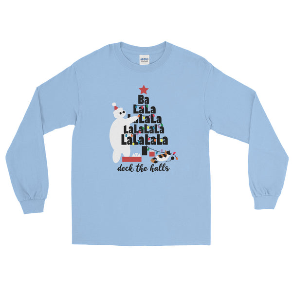 Baymax Disney Christmas Long Sleeve Christmas Tree with Furry Baby Men's Long Sleeve Shirt