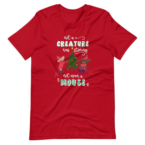 Disney Christmas Cinderella T-shirt Jaq and Gus Mint Christmas Tree Mint Letters T-Shirt