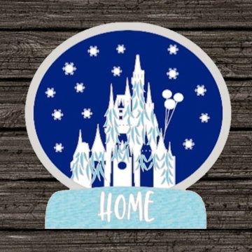 Snowglobe Cinderella Castle Home for the Holidays pin