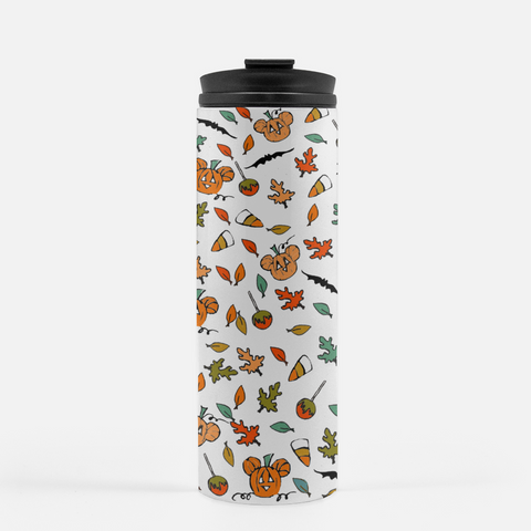 Disney Halloween Fall Mickey Pumpkin Sketch Tumbler Stainless Steel Water Bottle