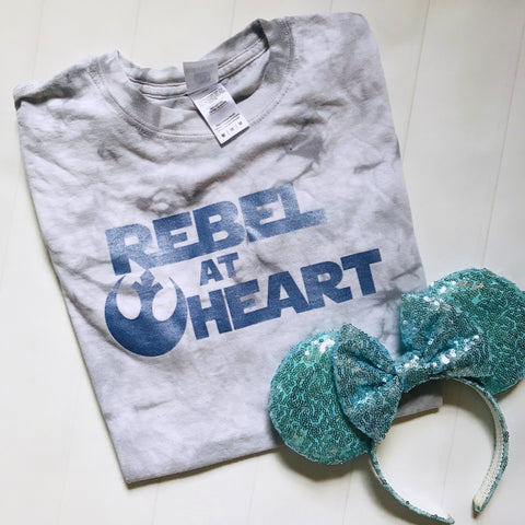 Star Wars Tie Dye Rebel at Heart READY TO SHIP T-Shirt Blue Shimmer Crystal Wash Tee- MEDIUM