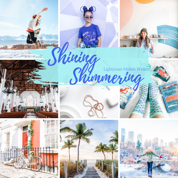 Shining Shimmering Pixie Lightroom Mobile Presets, Light Airy Clean Lifestyle Blogger Presets