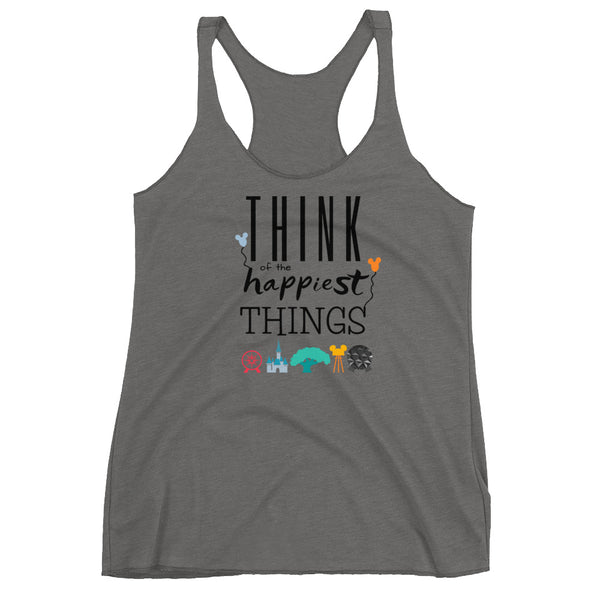 Think Disney Vacation Happiest Things Women's Racerback Tank