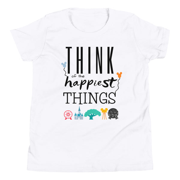 Think Disney Vacation Kids Happiest Things Unisex Youth Short Sleeve T-Shirt