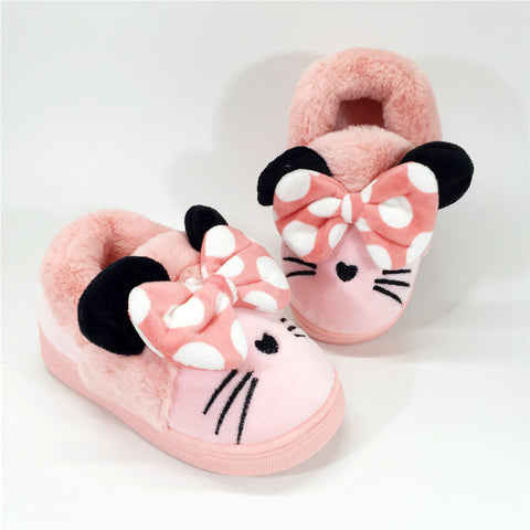 Kitty face adorned winter slippers