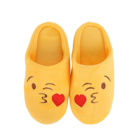 kids smiley face winter slippers