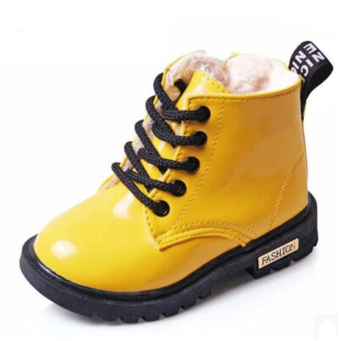 2017 New Winter Children Shoes PU Leather Waterproof Martin Boots Kids Snow Boots Brand Girls Boys Rubber Boots Fashion Sneakers-Taystee Shoes