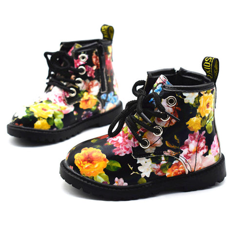 2017 Kids Girls Boots Autumn And Winter PU Leather Waterproof Boots Zip Rome Children Martin Boots Fashion Baby Girl Shoes-Taystee Shoes