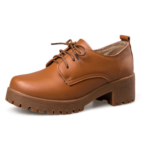 British style split leather women`s oxfords