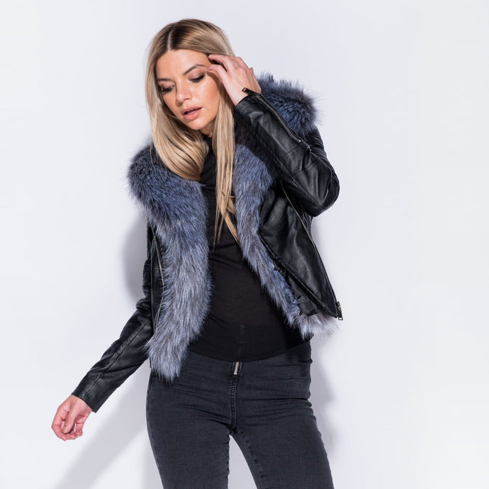 Faux Fur Trim Biker Jacket