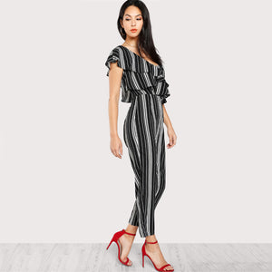 Black and White Striped One Shoulder Jumpsuit