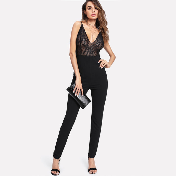 Black Plunge Lace Tailored Jumpsuit