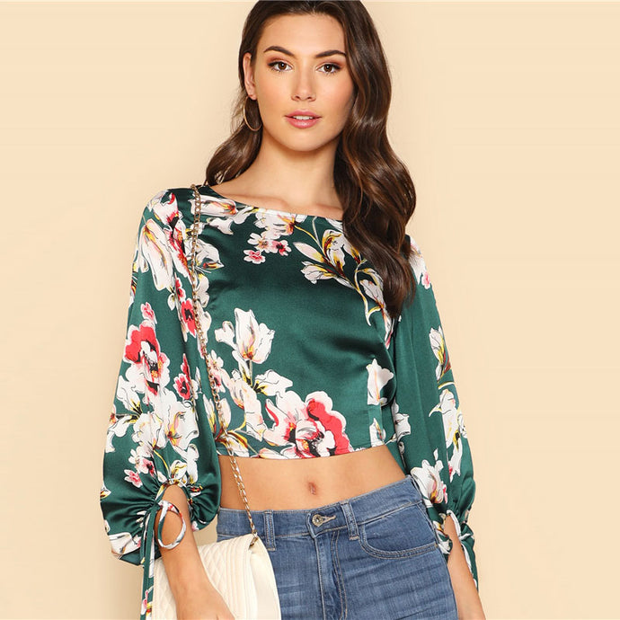 Green Tropical Print Backless Crop Top