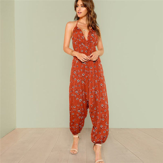 Orange Floral Print Open Back Jumpsuit