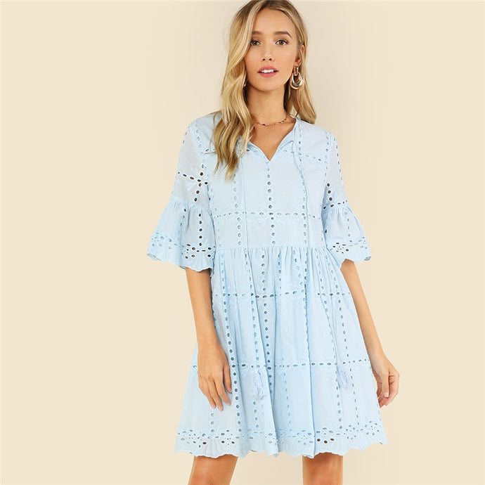 Blue Tassel Tie Smock Dress