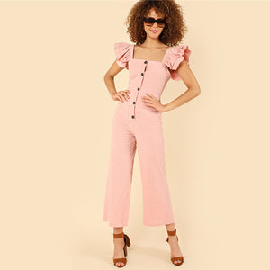 Pink Ruffle and Button Detail Jumpsuit