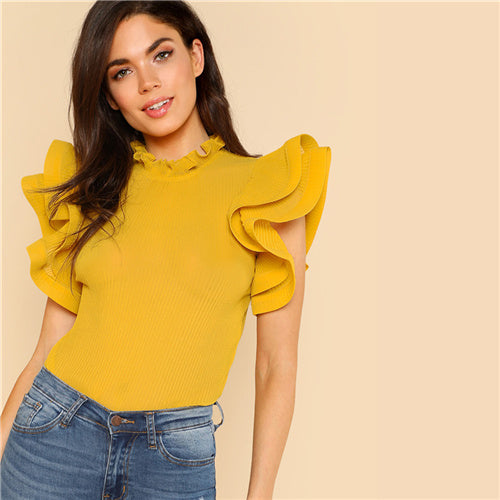 Yellow Exaggerate Ruffle Trim Pleated Sleeve Blouse