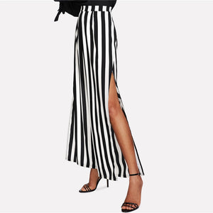 Black and White Slit Striped Trousers