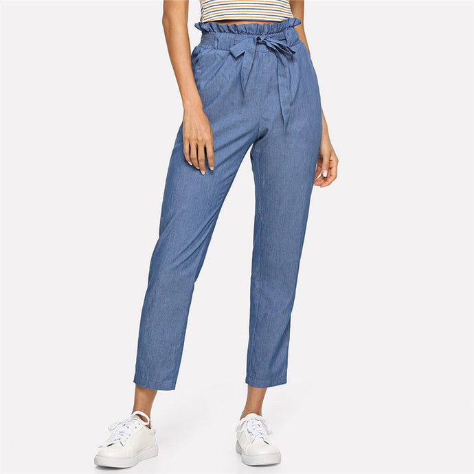 Blue Ruffle Waist Slim Leg Trousers