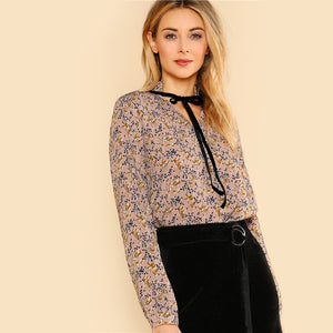 Floral Blouse With Tie Neck Frilled Collar