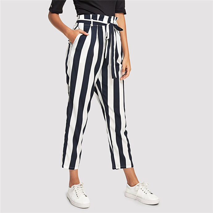 Navy Striped Casual Trousers