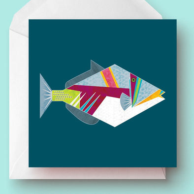 Geometric Picasso Triggerfish 'Naked Card' - Oak Lane