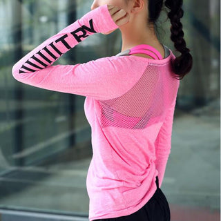 Women's casual exercise long sleeve t shirt, breathable mesh