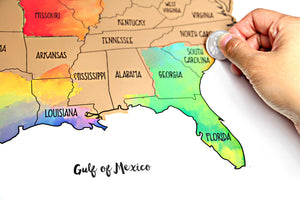 Watercolor United States of America Scratch Off Map ...