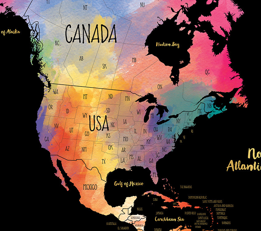 Watercolor World Scratch Off Map Deluxe | US States and Canadian ...