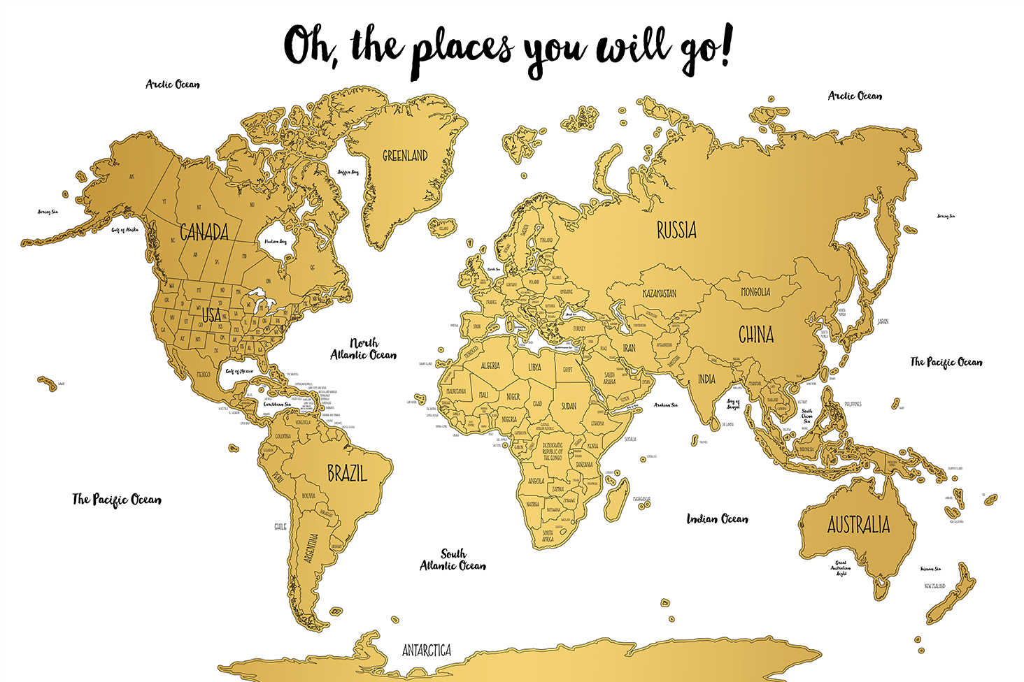 Watercolor World Scratch Off Map | PERFECT GIFT for any travel ...