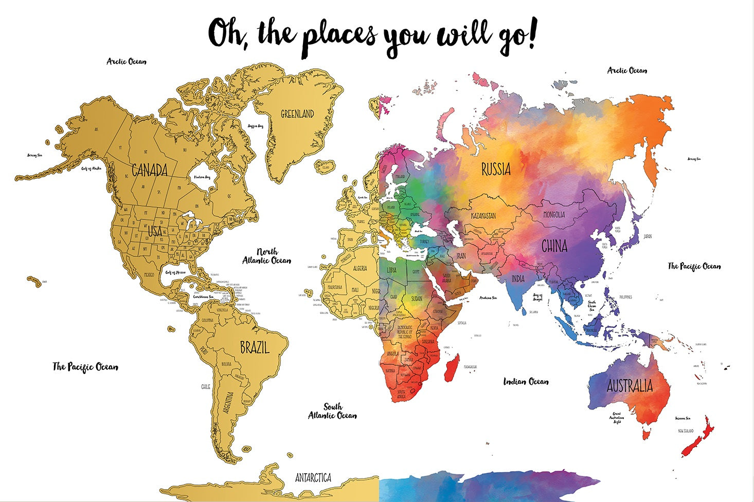 Watercolor World Scratch Off Map | PERFECT GIFT for any ...