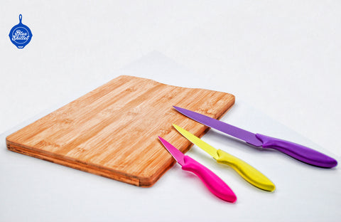 Image of Bamboo Cutting Board and Professional 3 Piece Knife Set