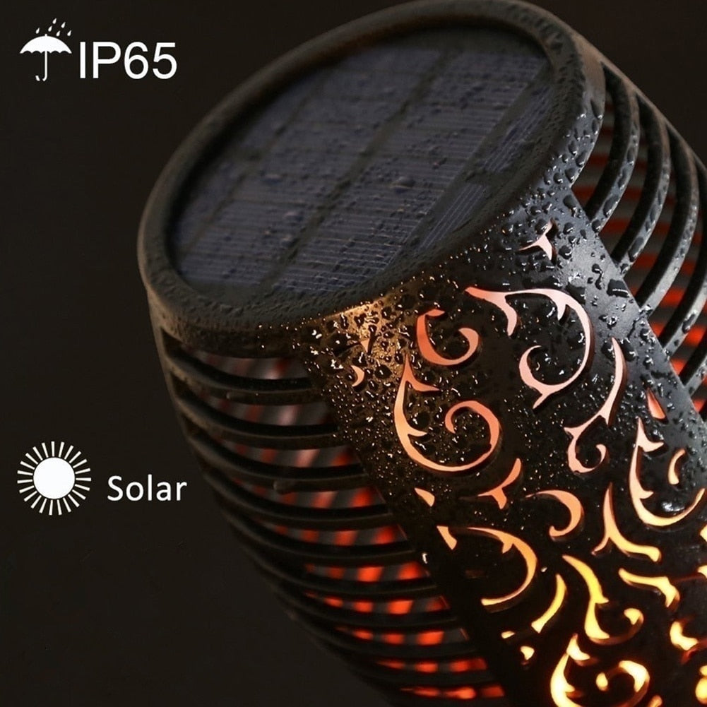 Waterproof Flickering Flames Torches Lights Outdoor Solar Spotlights