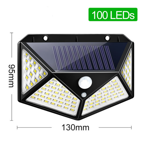 Image of Goodland 100 LED Solar Light Outdoor Solar Lamp Powered Sunlight 3 Modes PIR Motion Sensor for Garden Decoration Wall Street