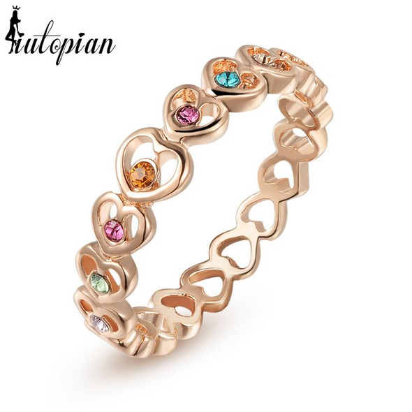 eternity heart gold ring with multi colored gemstones