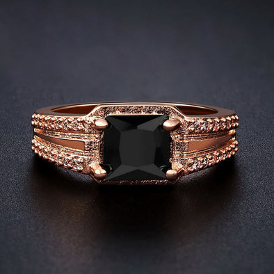 Rose Gold Black Onyx Ring