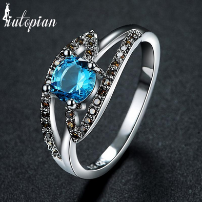 ocean blue stone with white rhinestone cubic zirconia silver ring
