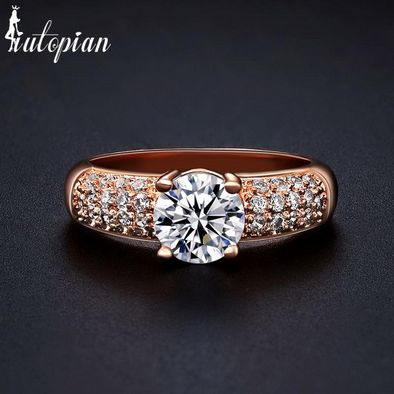 rose gold ring with Swiss cubic zirconia bridal ring