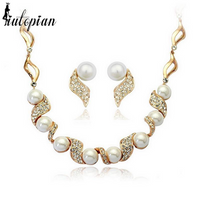 Twirly Pearl and Cubic Zirconia Gold Set Necklace an Earrings