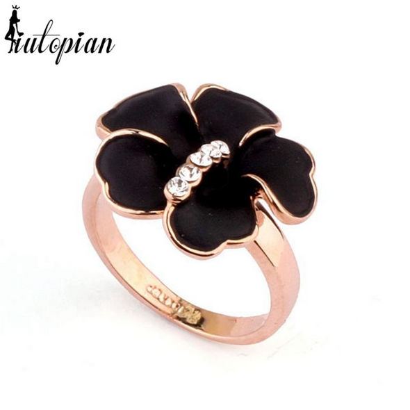 black flower gold ring with stones