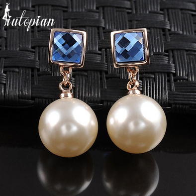 blue square pearl dangle gold earrings