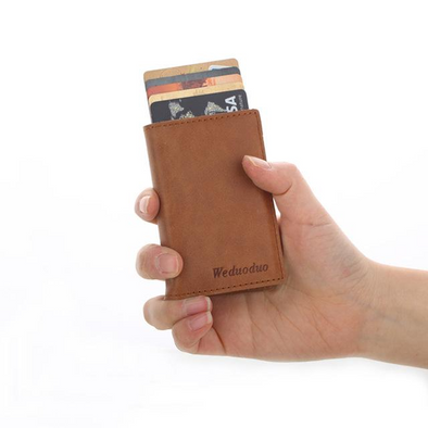 brown genuine leather card holder, card holder, iutopia, pop up card holder