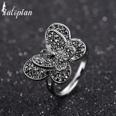 butterfly diamond silver ring