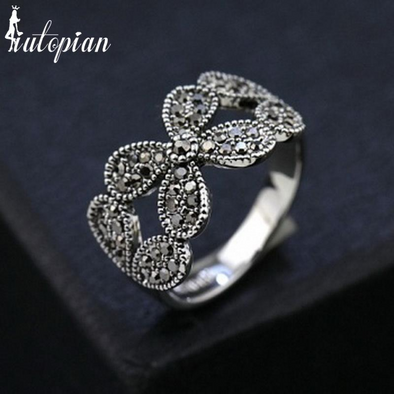 butterfly silver diamond vintage ring